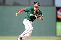 First baseman Sam Travis (28) of the Greenville Drive follows a pop up in a game against the Savannah Sand Gnats on Sunday, August 24, 2014, at Fluor Field at the West End in Greenville, South Carolina. Travis is a second-round pick of the Boston Red Sox in the 2014 First-Year Player Draft out of Indiana University. Greenville won, 8-5. (Tom Priddy/Four Seam Images)