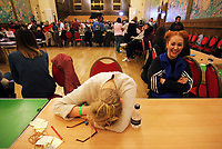 Pictured: A counter rests her head exhausted as the count comes to an end. Friday 09 June 2017<br />