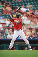 Erie SeaWolves catcher Grayson Greiner (21) at bat during a game against the Hartford Yard Goats on August 6, 2017 at UPMC Park in Erie, Pennsylvania.  Erie defeated Hartford 9-5.  (Mike Janes/Four Seam Images)