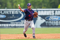 Third baseman Sean Nicol #4 of the Hagerstown Suns makes a throw to first base against the Rome Braves at State Mutual Stadium on May 1, 2011 in Rome, Georgia.   Photo by Brian Westerholt / Four Seam Images