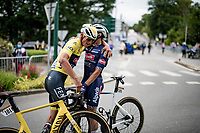 Tim Merlier (BEL/Alpecin-Fenix) wins the bunch sprint into Pontivy and plenty of joy is shared amongst teammates at the finish line roll-out<br /> <br /> Stage 3 from Lorient to Pontivy (183km)<br /> 108th Tour de France 2021 (2.UWT)<br /> <br /> ©kramon