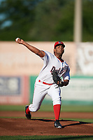 Auburn Doubledays starting pitcher Malvin Pena (24) delivers a pitch during a game against the Batavia Muckdogs on June 15, 2018 at Falcon Park in Auburn, New York.  Auburn defeated Batavia 5-1.  (Mike Janes/Four Seam Images)