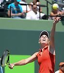 March 27 2017: Caroline Wozniacki (DEN) defeats Garbine Muguruza (ESP) by 7-6, 0-0 retired, at the Miami Open being played at Crandon Park Tennis Center in Miami, Key Biscayne, Florida. ©Karla Kinne/Tennisclix/Cal Sports Media