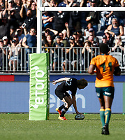 5th September 2021; Optus Stadium, Perth, Australia: Bledisloe Cup international rugby, Australia versus New Zealand; Damian McKenzie of the All Blacks scores a try under the uprights only to have it disallowed