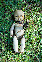 Scarred child's doll with outstreatched hand laying in grass<br />