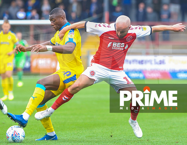 Fleetwood Town's forward Patrick Madden (17) battles with Wimbledon's defender Paul Kalambayi (30) during the Sky Bet League 1 match between Fleetwood Town and AFC Wimbledon at Highbury Stadium, Fleetwood, England on 10 August 2019. Photo by Stephen Buckley / PRiME Media Images.