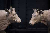 Cows sculpture. Hall of the Machines. Rome, Italy. Mar. 07, 2015