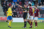 Hearts v St Johnstone...05.02.12.. Scottish Cup 5th Round.Ref Craig Thomson sends off Dave Mackay.Picture by Graeme Hart..Copyright Perthshire Picture Agency.Tel: 01738 623350  Mobile: 07990 594431