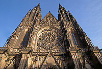 The facade of ST. VITUS' CATHEDRAL (constructed btwn. 1344-1929) inside PRAGUE CASTLE  -  PRAGUE