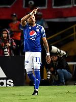 BOGOTÁ-COLOMBIA, 15–02-2020: Ayron Del Valle de Millonarios, celebra después de anotar su gol a Boyacá Chicó F.C., durante partido entre Millonarios y Boyacá Chicó F.C. de la fecha 5 por la Liga BetPlay DIMAYOR 2020 jugado en el estadio Nemesio Camacho El Campín de la ciudad de Bogotá. / Ayron Del Valle of Millonarios celebrates after scoring his goal to Boyacá Chicó F.C., during a match between Millonarios and Boyaca Chico F.C. of the 5th date for the BetPlay DIMAYOR Leguaje I 2020 played at the Nemesio Camacho El Campin Stadium in Bogota city. / Photo: VizzorImage / Luis Ramírez / Staff.