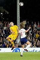 Tameka Butt of Australia Women and Abbie McManus of England Women during the Women's international friendly match between England Women and Australia at Craven Cottage, London, England on 9 October 2018. Photo by Carlton Myrie / PRiME Media Images.