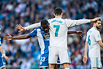 Cristiano Ronaldo (R) of Real Madrid and Aldo One Esteve of RC Deportivo La Coruna wrestle during the La Liga 2017-18 match between Real Madrid and RC Deportivo La Coruna at Santiago Bernabeu Stadium on January 21 2018 in Madrid, Spain. Photo by Diego Gonzalez / Power Sport Images