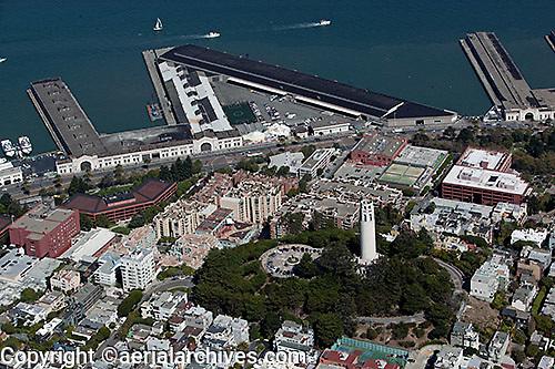 aerial photograph of Coit Tower, Telegraph Hill, Pier 29, The Embarcadero, San Francisco, California