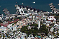 aerial photograph of Coit Tower, Telegraph Hill, Pier 29, The Embarcadero, San Francisco, California