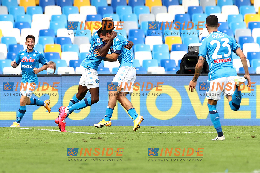 Hirving Lozano of SSC Napoli (2R) celebrates after scoring a goal with team mates Victor Osimhen (2L), Dries Mertens (L) and Matteo Politano of SSC Napoli (R) during the Serie A football match between SSC Napoli and Atalanta BC at San Paolo stadium in Naples (Italy), October 17th 2020. Photo Cesare Purini / Insidefoto