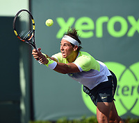 KEY BISCAYNE, FL - MARCH 27: Rafael Nadal of Spain defeats Nicolas Almagro of Spain in their second round match during the Miami Open Presented by Itau at Crandon Park Tennis Center on March 27, 2015 in Key Biscayne, Florida<br /> <br /> <br /> People:  Rafael Nadal