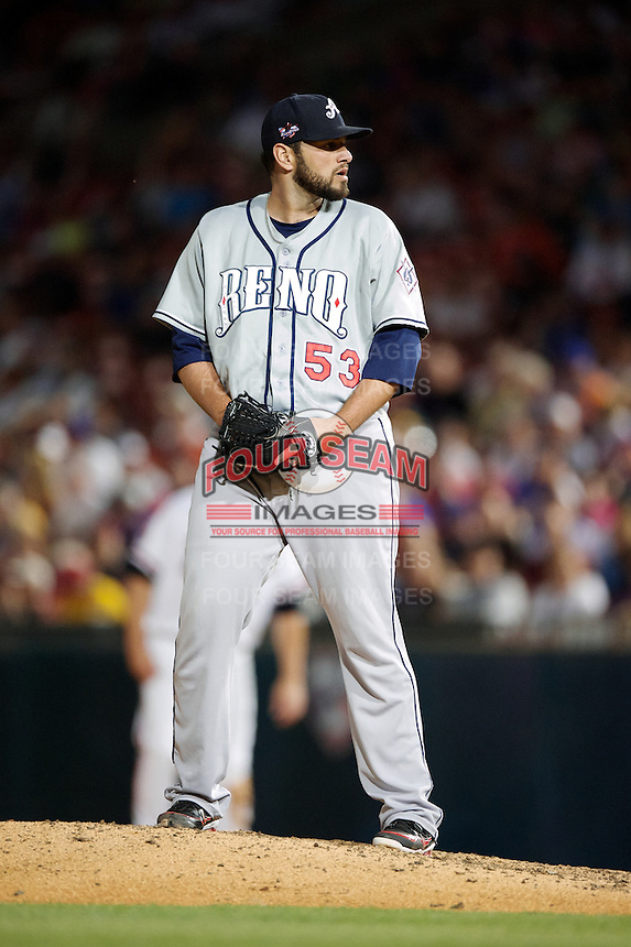 Reno Aces pitcher Jonathan Albaladejo #53 during the Triple-A All-Star game featuring the Pacific Coast League and International League top players at Coca-Cola Field on July 11, 2012 in Buffalo, New York.  PCL defeated the IL 3-0.  (Mike Janes/Four Seam Images)