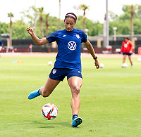 HOUSTON, TX - JUNE 8: Lynn Williams #6 of the USWNT takes a shot during a training session at the University of Houston on June 8, 2021 in Houston, Texas.