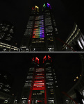 """June 2, 2020, Tokyo, Japan - This combo picture shows the Tokyo City Hall is lit up from rainbow colors to red color for the """"Tokyo alert"""" in Tokyo on Tuesday, June 2, 2020. Tokyo Metropolitan government confirmed 34 people became infected with the new coronavirus on the day and Governor Yuriko Koike warned the """"Tokyo alert"""" for Tokyo residents.     (Photo by Yoshio Tsunoda/AFLO)"""