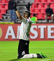 IBAGUE- COLOMBIA, 03-04-2019: Arnaldo Giménez de Jorge Wilstermann (BOL),  celebra el gol anotado a Deportes Tolima (COL), durante partido de la fase de grupos, grupo G, fecha 3, entre Deportes Tolima (COL) y Jorge Wilstermann (BOL), por la Copa Conmebol Libertadores 2019, en el Estadio Manuel Murillo Toro de la ciudad de Ibague. / Arnaldo Gimenez of Jorge Wilstermann (BOL), celebrate a scored goal to Deportes Tolima (COL), during a match of the groups phase, group G, 3rd date, beween Deportes Tolima (COL) and Jorge Wilstermann (BOL), for the Conmebol Libertadores Cup 2019, at the Manuel Murillo Toro Stadium, in Ibague city.  VizzorImage / Juan Carlos Escobar / Cont.