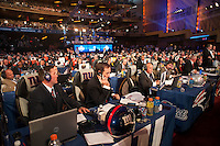 New York Giants personnel on the phone during the first round of the 2012 NFL Draft at Radio City Music Hall in New York, NY, on April 26, 2012.