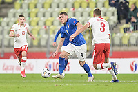 11th October 2020, The Stadion Energa Gdansk, Gdansk, Poland; UEFA Nations League football, Poland versus Italy; ANDREA BELOTTI takes on Walukiewicz of Poland