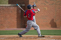 Matthew Cocciadiferro (8) of the NJIT Highlanders follows through on his swing against the High Point Panthers during game one of a double-header at Williard Stadium on February 18, 2017 in High Point, North Carolina.  The Panthers defeated the Highlanders 11-0.  (Brian Westerholt/Four Seam Images)