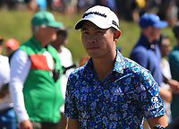 18th July 2021; Royal St Georges Golf Club, Sandwich, Kent, England; The Open Championship,  Golf, Day Four; Collin Morikawa (USA) at the par three 3rd hole