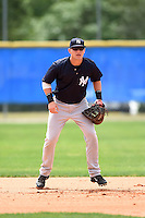 New York Yankees Matt Snyder (57) during practice before a minor league spring training game against the Toronto Blue Jays on March 24, 2015 at the Englebert Complex in Dunedin, Florida.  (Mike Janes/Four Seam Images)