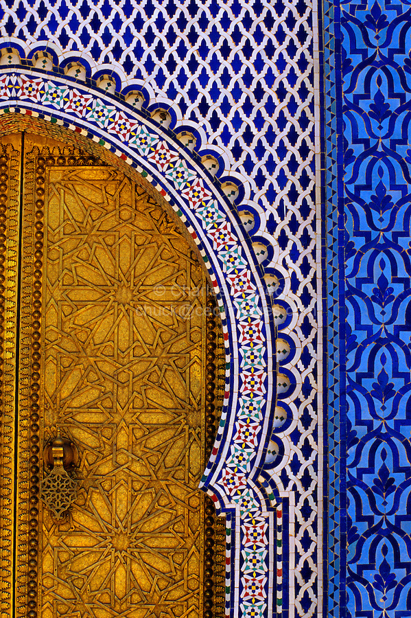 Fez, Morocco - Brass Door and Tile Work at the Royal Palace, Dar al-Makhzen.