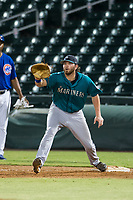 AZL Mariners first baseman Caleb Eldridge (16) in action against the AZL Cubs on August 4, 2017 at Sloan Park in Mesa, Arizona. AZL Cubs defeated the AZL Mariners 5-3. (Zachary Lucy/Four Seam Images)