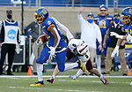 BROOKINGS, SD - MAY 2: Pierre Strong Jr. #20 of the South Dakota State Jackrabbits scampers past Clayton Bush #0 of the Southern Illinois Salukis at Dana J Dykhouse Stadium on May 2, 2021 in Brookings, South Dakota. (Photo by Dave Eggen/Inertia)
