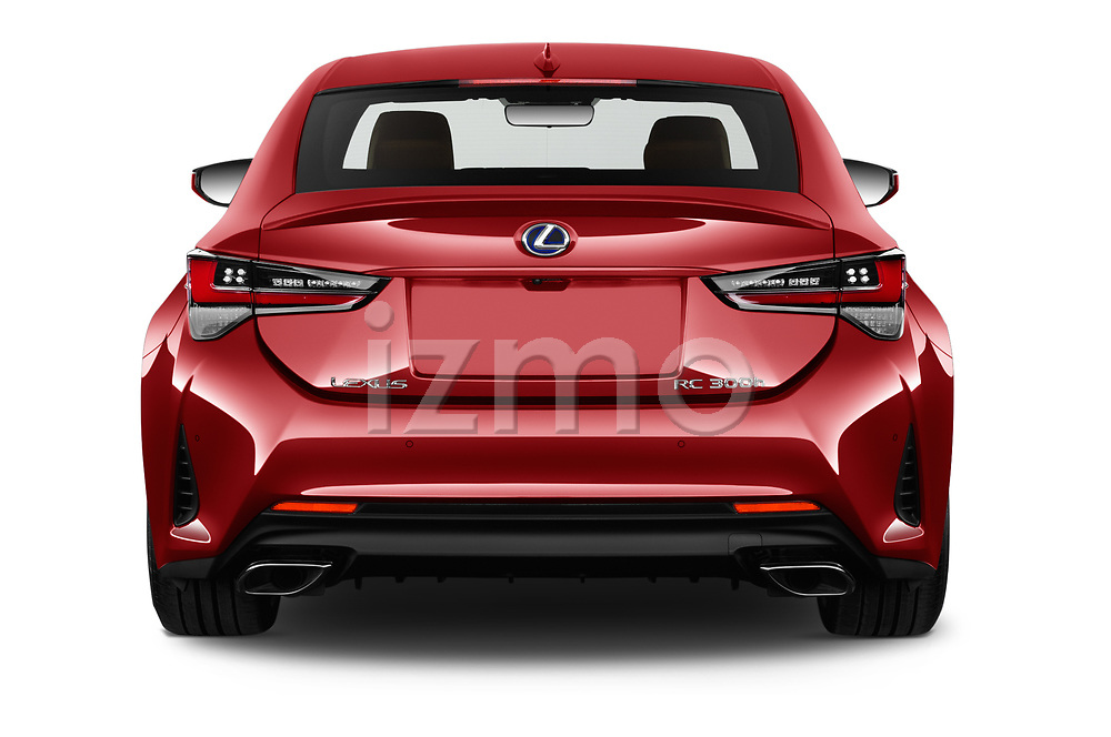 Straight rear view of 2019 Lexus RC 300h-Privilege-Line 2 Door Coupe Rear View  stock images