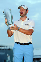 29th August 2021; Owens Mills, Maryland, USA;  Patrick Cantlay (USA) hoisting the winners trophy on the 18th green after the final round of the BMW Championship on August 29, 2021, at Caves Valley Golf Club in Owings Mills, MD.