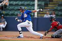 Biloxi Shuckers shortstop Orlando Arcia (2) at bat during a game against the Birmingham Barons on May 24, 2015 at Joe Davis Stadium in Huntsville, Alabama.  Birmingham defeated Biloxi 6-4 as the Shuckers are playing all games on the road, or neutral sites like their former home in Huntsville, until the teams new stadium is completed in early June.  (Mike Janes/Four Seam Images)