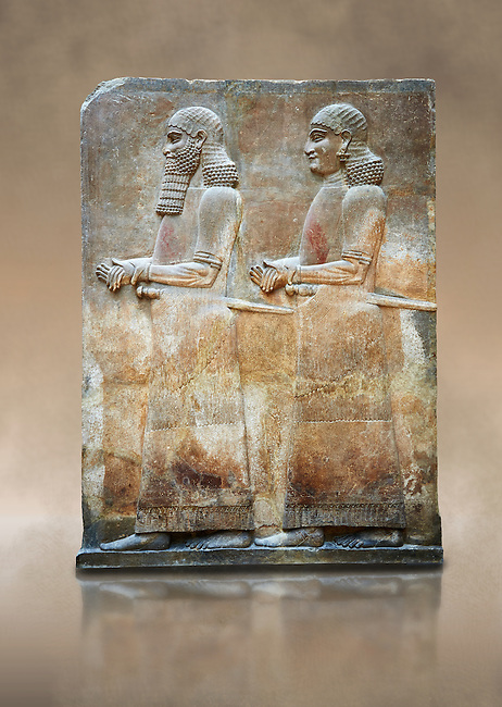 Stone relief sculptured panel of two functionaries. Room 811. Inv AO 19876 from Dur Sharrukin the palace of Assyrian king Sargon II at Khorsabad, 713-706 BC.  Louvre Museum Room 4 , Paris