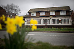 """© Joel Goodman - 07973 332324 . 14/03/2014 . White Horse Pub , Gilda Brook Road , Eccles M30 0DX , UK . GV General View of the pub . Landlady Bernadette """" Babs """" Harvieu (52 , correct) is unable to renew her contract with Robinsons brewery . Photo credit : Joel Goodman"""
