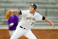 Wake Forest Demon Deacons starting pitcher Matt Conway (25) delivers a pitch to the plate against the Western Carolina Catamounts at Wake Forest Baseball Park on March 26, 2013 in Winston-Salem, North Carolina.  (Brian Westerholt/Four Seam Images)