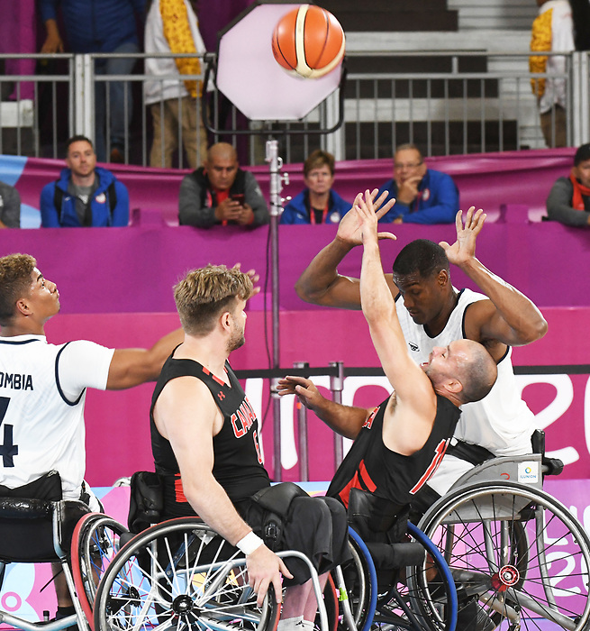 David Eng and Bo Hedges, Lima 2019 - Wheelchair Basketball // Basketball en fauteuil roulant.<br /> Men's wheelchair basketball competes against Columbia // Le basketball en fauteuil roulant masculin contre Colombie. 25/08/2019.