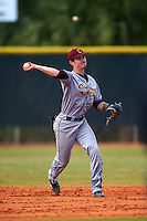 Central Michigan Chippewas shortstop Zach McKinstry (8) warmup throw to first during a game against the Boston College Eagles on March 8, 2016 at North Charlotte Regional Park in Port Charlotte, Florida.  Boston College defeated Central Michigan 9-3.  (Mike Janes/Four Seam Images)