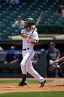 Hunter Tackett (21) of the Miami Hurricanes follows through on his swing against the Georgia Tech Yellow Jackets during game one of the 2017 ACC Baseball Championship at Louisville Slugger Field on May 23, 2017 in Louisville, Kentucky. The Hurricanes walked-off the Yellow Jackets 6-5 in 13 innings. (Brian Westerholt/Four Seam Images)