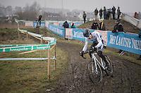 European & Belgian National U23 Champion Quinten Hermans (BEL/U23/Telenet-Fidea) on his way to winning teh Superprestige Series (finishing 2nd in this race)<br /> <br /> U23 men's race<br /> CX Superprestige Noordzeecross <br /> Middelkerke / Belgium 2017