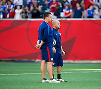 Vancouver, BC - Tuesday, June 16, 2015: Ryan Dell, trainer for the USWNT before the 2015 World Cup game against Nigeria.