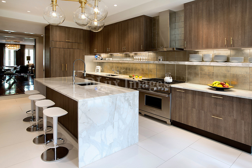 Contemporary kitchen island with bar stools