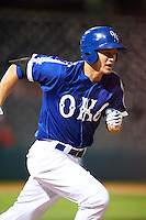 Oklahoma City Dodgers shortstop Corey Seager (18) runs to first during a game against the Fresno Grizzles on June 1, 2015 at Chickasaw Bricktown Ballpark in Oklahoma City, Oklahoma.  Fresno defeated Oklahoma City 14-1.  (Mike Janes/Four Seam Images)