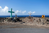 Roadside memorials along a dangerous curve on Pi'ilani Hwy. on the south shore of Maui