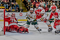 29 December 2018: University of Vermont Catamount Forward Max Kaufman (23), a Sophomore from Rochester, NY, scores the game-typing goal with half a second remaining in the second period against Rensselaer Engineer Goaltender Owen Savory, a Freshman from Cambridge, ON, at Gutterson Fieldhouse in Burlington, Vermont. The Catamounts rallied from a 2-0 deficit to defeat RPI 4-2 and win the annual Catamount Cup Tournament. Mandatory Credit: Ed Wolfstein Photo *** RAW (NEF) Image File Available ***