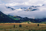 cloudy morning at Moraine Park,  fall in Rocky Mountain National Park, Colorado, USA