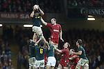 Springbok lock Flip Van Der Merwe beats Alun Wyn Jones to the lineout ball.<br /> <br /> 2013 Dove Men Series<br /> Wales v South Africa<br /> Millennium Stadium<br /> 09.11.13<br /> ©Steve Pope-Sportingwales
