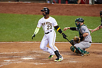 Pittsburgh Pirates Andrew McCutchen hits a home run during the MLB All-Star Game on July 14, 2015 at Great American Ball Park in Cincinnati, Ohio.  (Mike Janes/Four Seam Images)